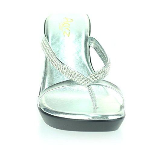 Mujer Señoras Diamante Dedo Del Pie DeLla Barra Ponerse Tacón De Cuña Diarion Casual Cómodo Fiesta Sandalias Zapatos Talla Plata