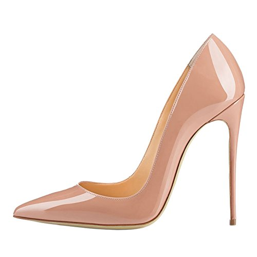 MERUMOTE Party Toe Dress Pointed High Pumps Nude patent Stiletto 120MM Patent Leather Women's Heel Usual AzrqUwA