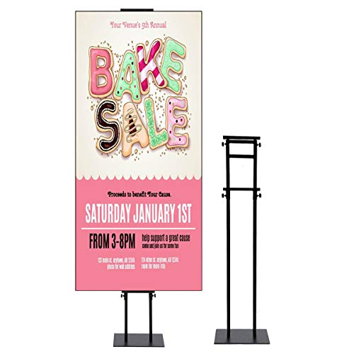 Rack Board Display Poster - Store Sign Holders Double Pole Support Poster Stand Stable Pedestal Adjustable Height Black