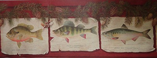 Wallpaper Wall Border - Rustic Fish Signs with Pinecone Accents