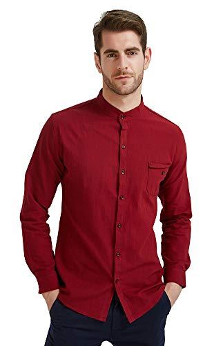 - Plaid&Plain Men's Slim Fit Long Sleeve Banded Collar Solid Linen Shirts Burgundy S