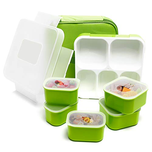 Fun Life Bento Lunch Box, 5 Compartment Insulated Leakproof Meal Prep Container Eco-Friendly Reusable for Men, Women, Adults, Kids (green)