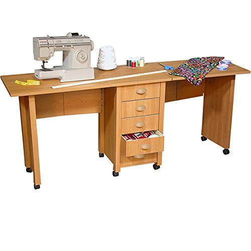 UPC 654775101914, Venture Horizon Double Mobile Desk and Craft Center- Oak
