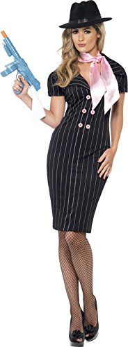 Smiffys Gangsters Moll Costume, Black/Pink, Small -