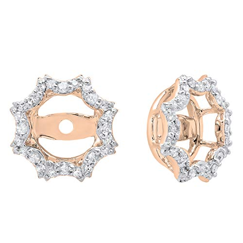 0.20 Carat (ctw) 14K Round Diamond Ladies Removable Jackets For Stud Earrings, Rose Gold 14k Gold Diamond Earring Jackets