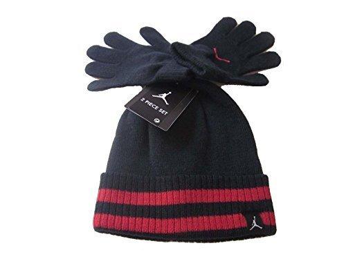 Boys Nike Air Jordan Ribbed Beanie and Glove Set Black Red (4/7)