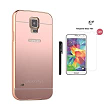 Case for Samsung S5, xhorizon TM SR1 Luxury Metal Air Aluminium Bumper Detachable + Mirror Hard Back Case 2 in 1 Cover Ultra-Thin Frame Case for Samsung Galaxy S5 with a 9H Tempered Glass Film (Rose-gold)