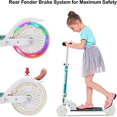 Scooter for Kids with LED Light Up Wheels, Adjustable Height A3 Kick Scooters, 5lb Lightweight Folding Kids Scooter, 110lb Weight Capacity, Best Gifts for 3-7 Girls Boys (White) : Sports & Outdoors