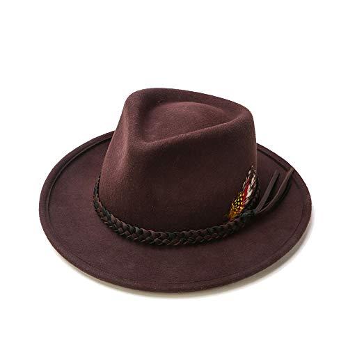 Lawbuce Unisex Fedora Hat 100% Wool Felt Formal Hat Woven Belt Bucket Hat with Feather Decoration (Coffee) - Felt Bucket