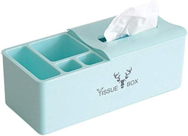 SSN Práctica Funda para Caja de pañuelos de Papel,Caja de pañuelos multifunción Mesa for el hogar Mesa de café Control Remoto Caja de pañuelos de Almacenamiento (Color : Azul): Amazon.es: Hogar