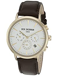 Ben Sherman Men's 'Portobello Professional' Quartz Stainless Steel and Leather Automatic Watch, Color:Brown (Model: WB028BRGA)