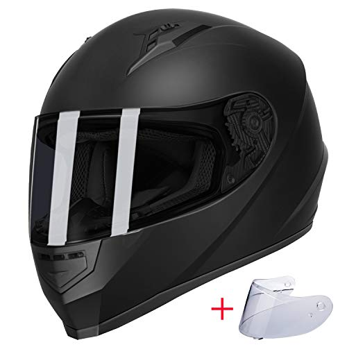 GLX Unisex-Adult GX11 Compact Lightweight Full Face Motorcycle Street Bike Helmet with Extra Tinted Visor DOT Approved (Matte Black, X-Large)