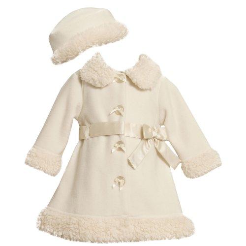 Bonnie Jean NEWBORN/INFANT 3M-24M 2-Piece IVORY SATIN BAND and BOW FAUX FUR FLEECE Outerwear Coat/Hat Set