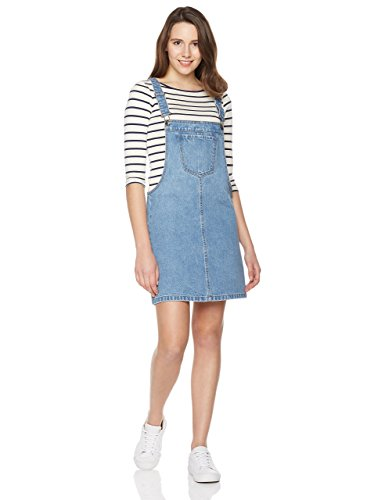 (Lily Parker Women's Classic Adjustable Strap Denim Overall Dress OV1703 Small Light Blue)