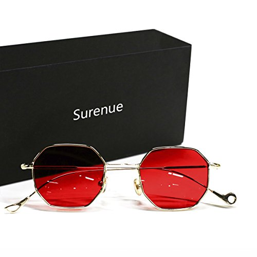 Sunglasses for women Surenue Small Metal Frame Asymmetry Temple Unisex Square Retro Vintage Sun Glasses