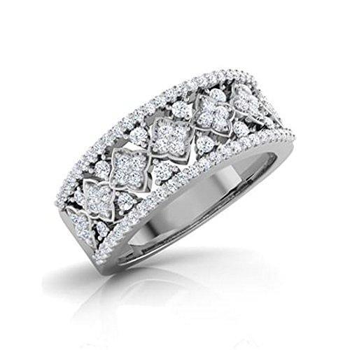 14K Or blanc, 0,6carat Taille ronde Diamant (IJ | SI) en diamant