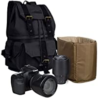S-ZONE Canvas DSLR SLR Camera Shoulder Bag Backpack Rucksack Bag With Waterproof Rain Cover For Sony Canon Nikon Olympus