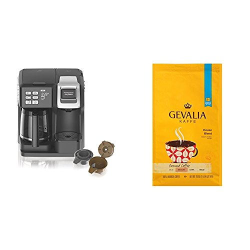 Hamilton Beach FlexBrew Programmable Coffee Maker & GEVALIA Medium Roast House Blend Coffee, 20 Ounce (ship seperately)