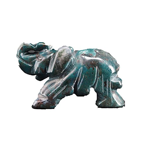 lgw crystal Carved Natural Lndian Agate Gemstone Elephant Healing Guardian Statue Figurine Crafts 2 inch (Indian Agate)