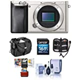 Sony Alpha A6000 Mirrorless Digital Camera Body, Silver - Bundle with Camera Bag, 16GB SDHC Memory Card, Cleaning Kit, Memory Wallet, Mac Software Package