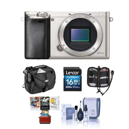 (Sony Alpha A6000 Mirrorless Digital Camera Body, Silver - Bundle with Camera Bag, 16GB SDHC Memory Card, Cleaning Kit, Memory Wallet, Mac Software Package)