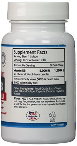 Vitamin D3 By Act Now Nutrition – GMO And Soy Free Extra Strength 5000 IU High Potency Supplement Complex in Food Grade Extra Virgin Olive Oil Liquid Mini Softgel Pills – Made From Lanolin (A Natural Source Of Cholecalciferol) - Promotes A Healthy Lifestyle, Calcium Absorption, and Prevents D3 Deficiency And Its Symptoms – Get Benefits Now At Hot Discount Sale Price – 240 Day No-Hassle Guarantee (240)