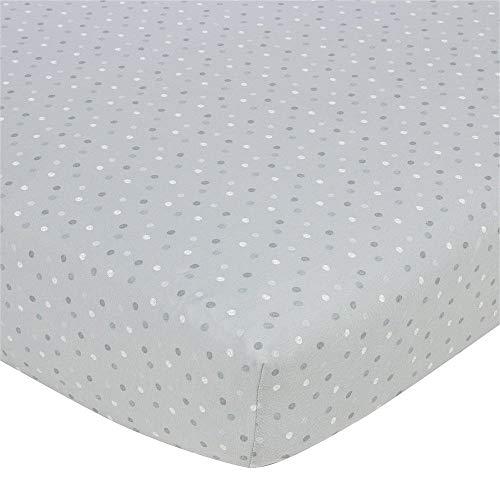 Gerber Baby Boys 100% Jersey Knit Cotton Printed Crib Sheet - Grey Dots