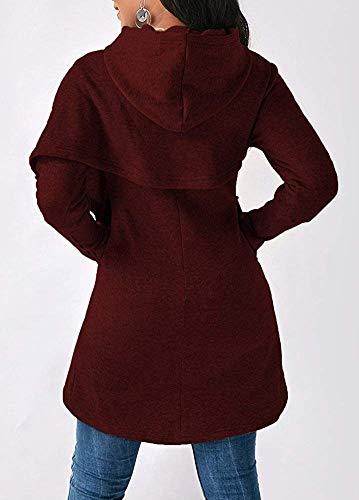 manches à Zhrui ourlet à 93cm buste poches rouge asymétrique Sweat longues M et taille couleur UCwrCxg