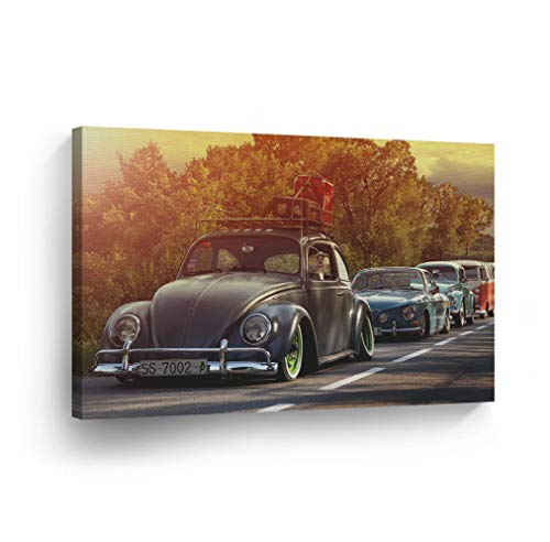 Sunset Many Volkswagen VW Beetle Bug on The Street Sepya Colors Canvas Print Decorative Vintage Art Rustic Wall Decor Artwork Wood Stretcher Bars - Ready to Hang -%100 Handmade in The USA - 8x12