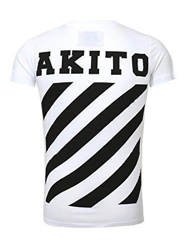 Akito Blanc Stripe Imprimer Retour Homme shirt Mince Tanaka Bande Rayé T Fit UrqUIFx