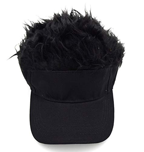 Adult Novelty Sun Visor Cap with Spiked Hairs Wig Peaked Adjustable Baseball Hat (Black Black)