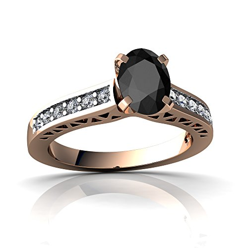 14kt Rose Gold Black Onyx and Diamond 7x5mm Oval Art Deco Ring - Size 9