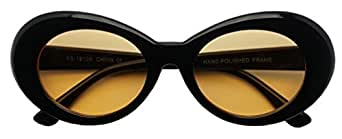 50's Vintage Oval Bold Nirvana Inspired Color Pantone Lens Sunglasses (Black / Orange Lens, 65)