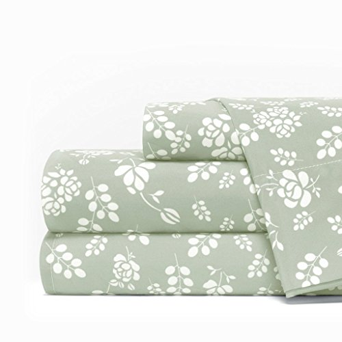 Egyptian Luxury 1600 Series Hotel Collection Basic Floral Pattern Bed Sheet Set - Deep Pockets, Wrinkle and Fade Resistant, Hypoallergenic Sheet and Pillowcase Set - Cal King - Sage/White
