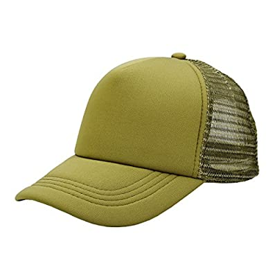 Ayliss Two Tone Trucker Hat Summer Mesh Baseball Cap with Adjustable Snapback, Army Green