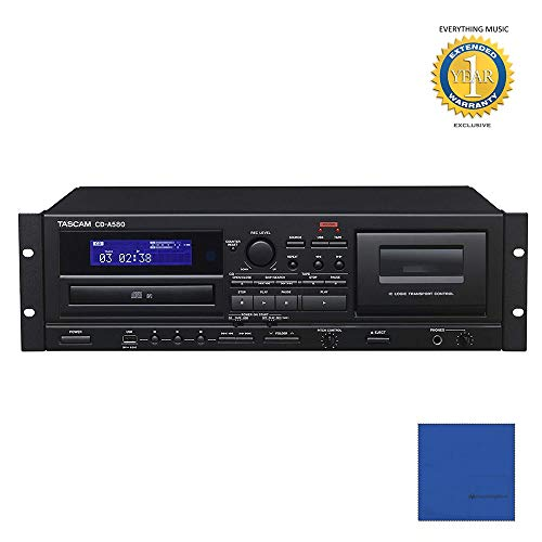 - Tascam CD-A580 Rackmount Cassette/CD/USB MP3 Player Recorder Combo with Microfiber and 1 Year Everything Music Extended Warranty