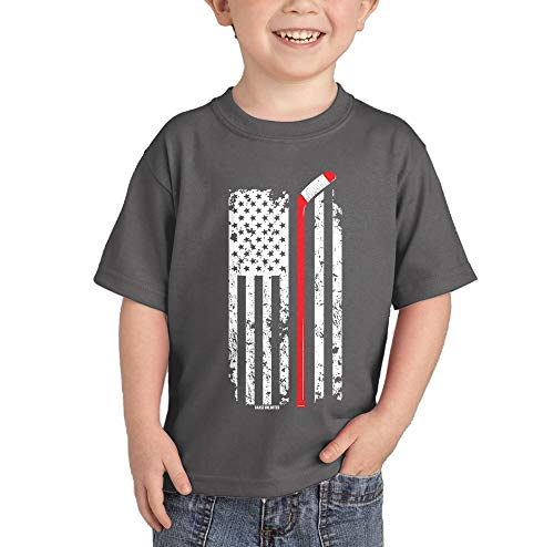 Hockey Stick American Flag - Red Line Infant/Toddler Cotton Jersey T-Shirt (Charcoal, 4T)