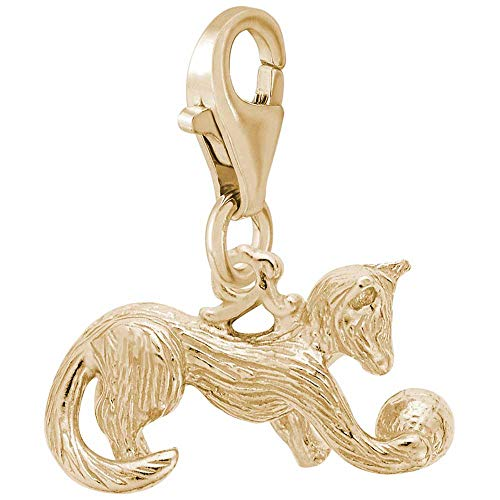 Rembrandt Playful Cat Charm with Lobster Clasp, Gold Plated Silver