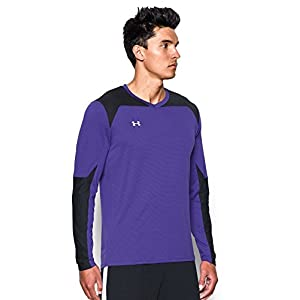 Under Armour Men's Threadborne Wall Goalkeeper Jersey, Purple Zest (754)/White, Large