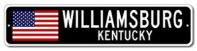 WILLIAMSBURG, KENTUCKY USA City Flag Sign Aluminum Patriotic Sign
