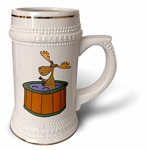 3dRose All Smiles Art Animals - Funny Cute Moose Soaking in Hot tub Cartoon - 22oz Stein Mug (stn_281344_1)