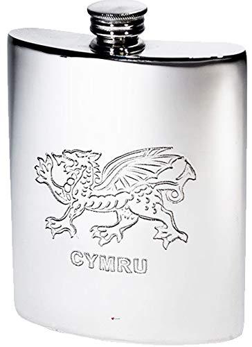 (Large Sized 6oz Pewter Pocket Flask with Welsh Dragon Design)