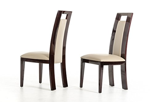 VIG Furniture Douglas Collection Modern Leatherette Upholstered Dining Side Chairs with Solid Ash Frame and High Gloss Finish, Ebony and Taupe, Set of 2