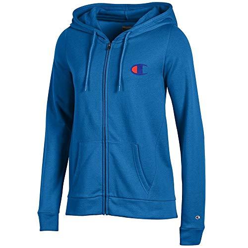 (Champion Reverse Weave Logo Women's (Varsity Blue) University Fleece Full-Zip Hoodie)