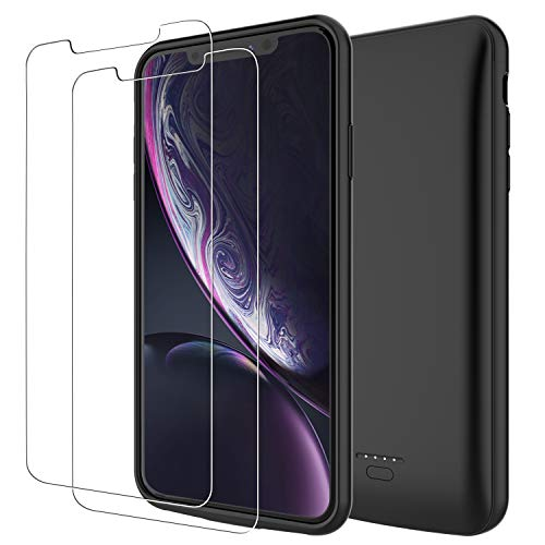 PEYOU Compatible for iPhone XR Battery Case + 2 Pack Tempered Glass Screen Protector, 5000mAh Slim Rechargeable Portable Extended Battery Pack Power Bank Charger Protective Charging Case Cover 6.1