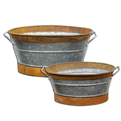 Set of Two Vintage Style Galvanized Metal Buckets