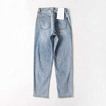 Kxdnzk Zkkxdn Blue Jeans Para Mujer Pantalones De Mezclilla De Cintura Alta Pantalones Anchos Rectos Hasta El Tobillo Pantalones De Mujer Pantalones Vaqueros De Novio Femenino Amazon Es Deportes Y Aire Libre