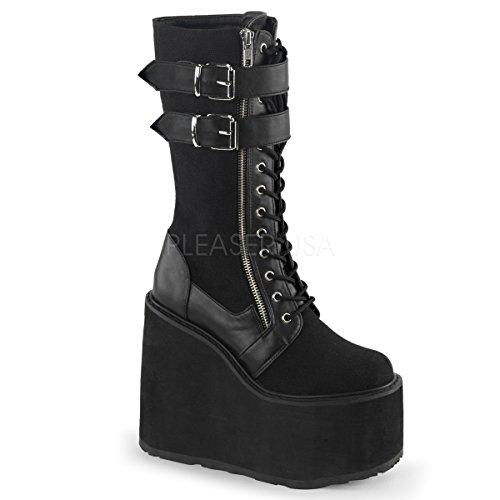 Demonia SWI221/BCA-VL Women's Boot, Black Canvas Vegan Leather, 8 M US