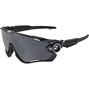 Oakley Men's Jawbreaker Asian Fit OO9270-01 Shield Sunglasses, Polished Black, 131 mm