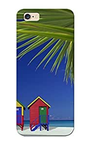 Stylishgojkqt Faddish Phone Colorful Beach Houses Case For Iphone 6 Plus / Perfect Case Cover